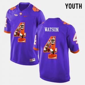 Youth(Kids) Clemson #4 DeShaun Watson Purple Pictorial Fashion Jersey 361326-476