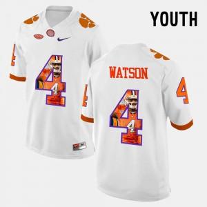 Youth Clemson Tigers #4 DeShaun Watson White Pictorial Fashion Jersey 963903-204