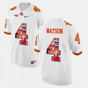 Men's Clemson Tigers #4 DeShaun Watson White Pictorial Fashion Jersey 842852-881