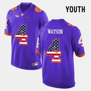 For Kids Clemson University #4 DeShaun Watson Purple US Flag Fashion Jersey 865049-287
