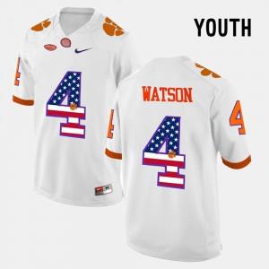 Kids Clemson National Championship #4 DeShaun Watson White US Flag Fashion Jersey 585353-825