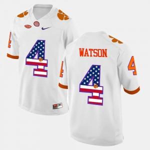 For Men's Clemson #4 DeShaun Watson White US Flag Fashion Jersey 962978-970