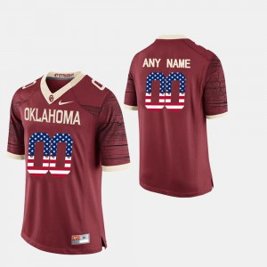 For Men Oklahoma #00 Crimson US Flag Fashion Custom Jerseys 397514-657