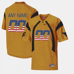 Men's WVU #00 Gold US Flag Fashion Custom Jerseys 404796-875