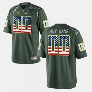 For Men's University of Oregon #00 Green US Flag Fashion Customized Jerseys 989159-754