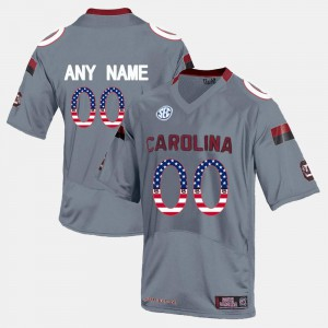 For Men's USC Gamecock #00 Grey US Flag Fashion Customized Jersey 705195-751