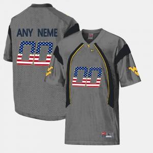 For Men West Virginia University #00 Grey US Flag Fashion Custom Jerseys 901049-525