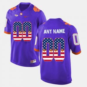 Mens Clemson #00 Purple US Flag Fashion Custom Jerseys 140276-252