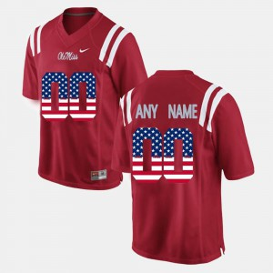 For Men's Ole Miss #00 Red US Flag Fashion Customized Jerseys 440747-722