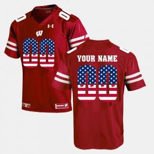 Men Wisconsin Badgers #00 Red US Flag Fashion Custom Jerseys 966773-853