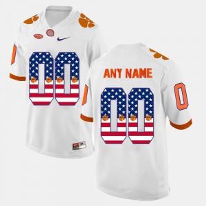 Men Clemson National Championship #00 White US Flag Fashion Customized Jersey 751829-581