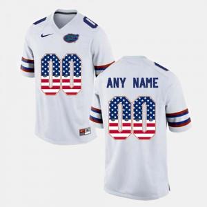 Mens UF #00 White US Flag Fashion Customized Jersey 244283-976