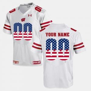 For Men's Wisconsin #00 White US Flag Fashion Customized Jerseys 892540-787