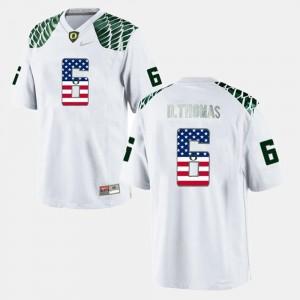 Men Oregon Ducks #6 De'Anthony Thomas White US Flag Fashion Jersey 354961-861
