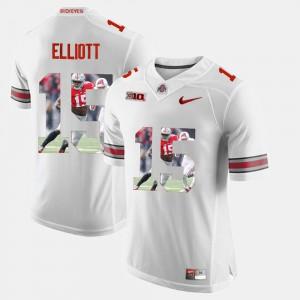 Men's Ohio State Buckeyes #15 Ezekiel Elliott White Pictorial Fashion Jersey 842158-991