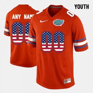 Kids UF #00 Orange US Flag Fashion Customized Jersey 533336-864