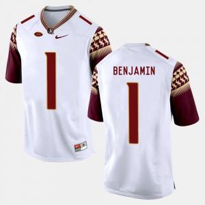 For Men's Seminoles #1 BKelvin Benjamin White College Football Jersey 302575-497