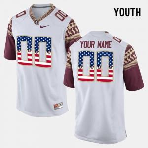 Kids FSU Seminoles #00 White US Flag Fashion Customized Jerseys 886649-811