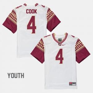 Youth FSU Seminoles #4 Dalvin Cook White Alumni Football Game Jersey 334471-442