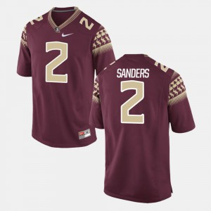 Men's Seminole #2 Deion Sanders Garnet Alumni Football Game Jersey 524901-808