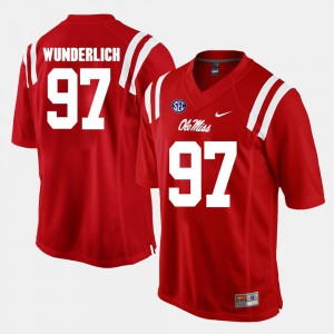 Mens Ole Miss Rebels #97 Gary Wunderlich Red Alumni Football Game Jersey 526849-587
