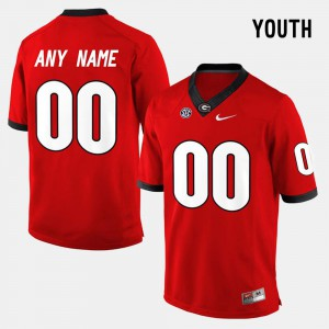 Youth GA Bulldogs #00 Red College Limited Football Custom Jersey 798462-470