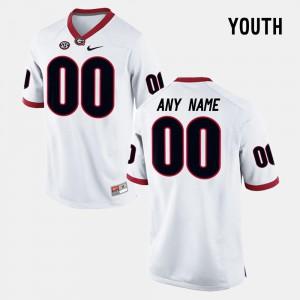 For Kids Georgia Bulldogs #00 White College Limited Football Custom Jerseys 839123-992