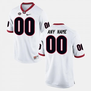 Mens Georgia #00 White College Limited Football Customized Jersey 472373-455