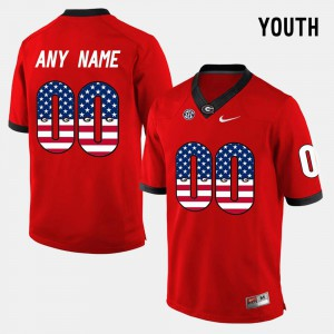 Youth UGA Bulldogs #00 Red US Flag Fashion Customized Jersey 989645-313