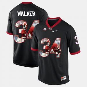 For Men's UGA Bulldogs #34 Herschel Walker Black Player Pictorial Jersey 737162-231