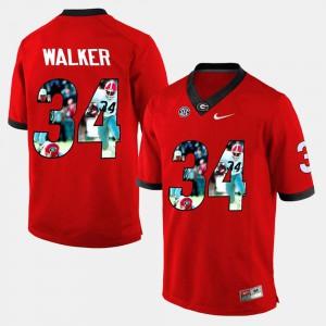For Men University of Georgia #34 Herschel Walker Red Player Pictorial Jersey 905138-911