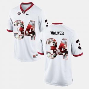 Men UGA Bulldogs #34 Herschel Walker White Player Pictorial Jersey 234357-944