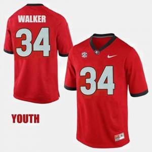 Youth(Kids) UGA Bulldogs #34 Herschel Walker Red College Football Jersey 190342-635