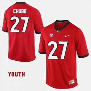 Kids GA Bulldogs #27 Nick Chubb Red College Football Jersey 678440-627