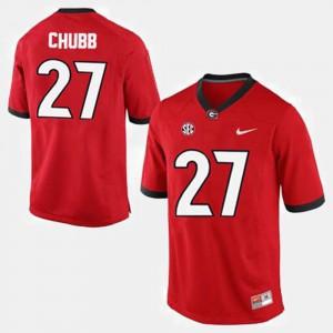Men's Georgia #27 Nick Chubb Red College Football Jersey 590658-919