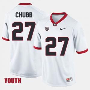 Youth Georgia Bulldogs #27 Nick Chubb White College Football Jersey 603554-568