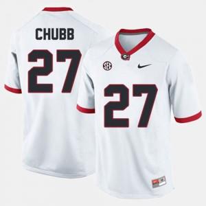 Men GA Bulldogs #27 Nick Chubb White College Football Jersey 685226-791