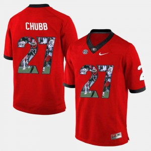 For Men GA Bulldogs #27 Nick Chubb Red Player Pictorial Jersey 578170-660