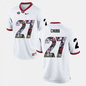 For Men Georgia #27 Nick Chubb White Player Pictorial Jersey 820656-494