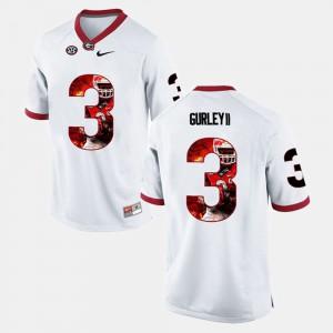 Men's GA Bulldogs #3 Todd Gurley II White Player Pictorial Jersey 408319-163