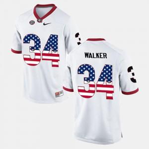 Men's UGA #34 Herschel Walker White US Flag Fashion Jersey 499661-751