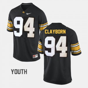 Youth Hawkeyes #94 Adrian Clayborn Black College Football Jersey 148699-552