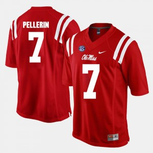 For Men's Ole Miss Rebels #7 Jason Pellerin Red Alumni Football Game Jersey 714229-967