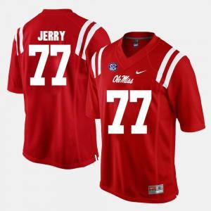 Men's University of Mississippi #77 John Jerry Red Alumni Football Game Jersey 304191-628