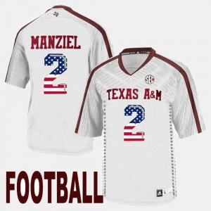 Men Texas A&M University #2 Johnny Manziel White US Flag Fashion Jersey 279711-923
