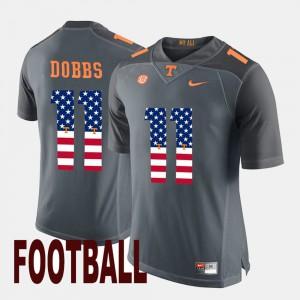 For Men UT VOL #11 Joshua Dobbs Gray US Flag Fashion Jersey 134251-635