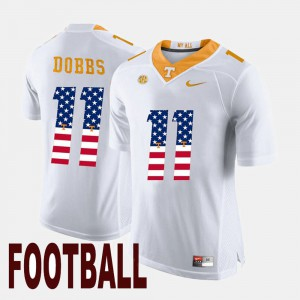 Mens University Of Tennessee #11 Joshua Dobbs White US Flag Fashion Jersey 218136-540