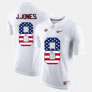 Mens Bama #8 Julio Jones White US Flag Fashion Jersey 646820-647
