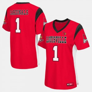 Ladies U of L #1 Red College Football Jersey 741877-355