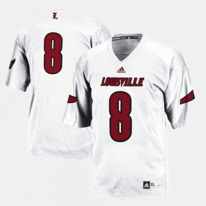 Mens Louisville #8 White College Football Jersey 653851-554